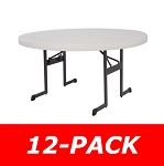 12 Lifetime Round Folding Tables 80313 60 In Almond Professional Grade
