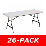 6 ft. Commercial Nesting Lifetime Plastic Table 26-Pack 880272 (White Granite)