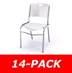 14 Lifetime Stacking Chairs 80311 White Contoured Seat Silver Frame