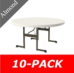 10 Lifetime Round Folding Tables 80313 60 In Almond Professional Grade