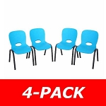 Lifetime Children's Stacking Chairs 80472 4 Pack Glacier Blue
