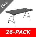 6 ft. Commercial Nesting Lifetime Plastic Table 26-Pack 880350 (Black)
