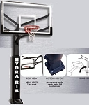 SO Huffy Hydra-Rib 72-In Glass Backboard Basketball System & Pole Pad