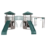 Lifetime 90966 Double Adventure Tower Super Deluxe with Monkey Bars Playset (Earthtone)