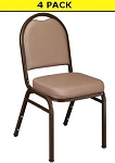 4 9201 French Beige Colored Dome-Back Vinyl Upholster Stacking Chairs