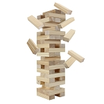 Hathaway Block Out Wood Toppling Tower Stacking, Collapsing Game w Bag