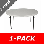 5 ft. Round Commercial Nesting Lifetime Plastic Table 1-Pack 280435 (Almond)