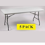 Folding Banquet Tables - BM-3072 Gray Rectangular Table Top - 5 Pack