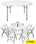 Round Folding Tables - Bt-60r Gray Granite 60 in Table Top - 12 Pack