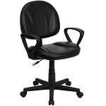 Leather Office Task BT-688-BK-A-GG Mid-Back Black Ergonomic Chair