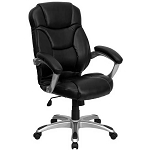 High Back Black Leather Contemporary Office Chair