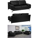 Black Leather Sofa - Hercules H-9742A-EXCEL-SOFA-GG Furniture