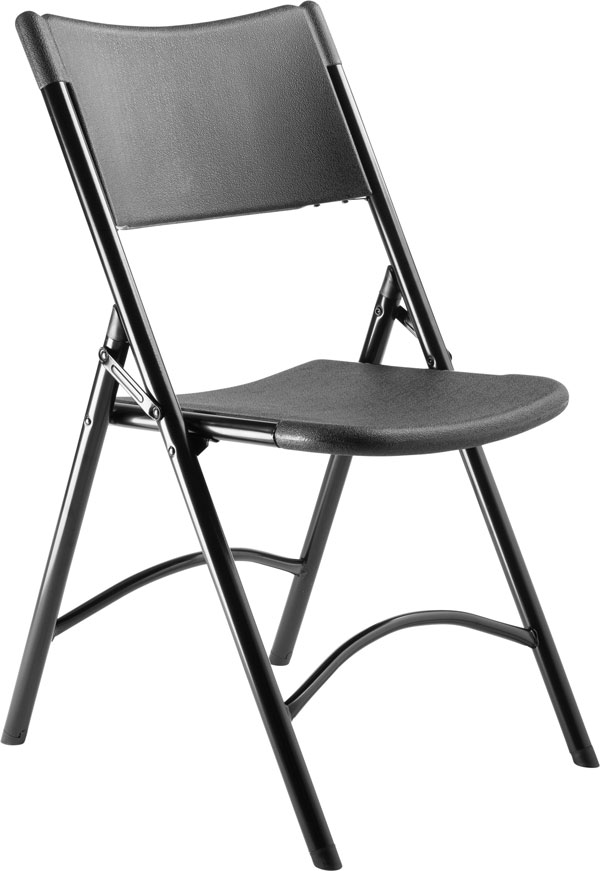 National Public Seating 4-Pack 610 Series NPS Black Plastic Folding Chair