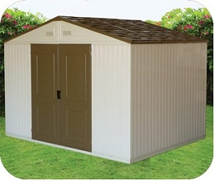 Westchester 10.5x8 Double Wall Vinyl Shed with Foundation Kit