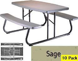 SO Lifetime 2156 10 Portable Lifetime 5 ft Sage Folding Picnic Tables