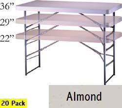 SO 2942 20 PACK Lifetime 4 ft Almond Adjustable Folding Tables