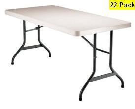 SO 8103 22 PACK Lifetime 5 ft Almond Folding Tables