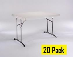 SO Lifetime Products 2640 20 Pack 4 Ft Folding Tables Almond Table Top