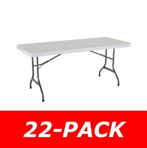 Lifetime 2901 6' Rectangular Tables 22 Pack White Granite Color Top