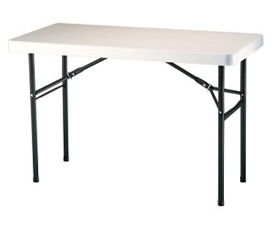 Lifetime Tables 22959 Almond 4 Foot Plastic Folding Table Bronze Frame
