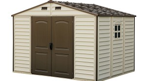 Duramax Outdoor Storage Shed 30214 10.5x8 Woodside Vinyl + Foundation