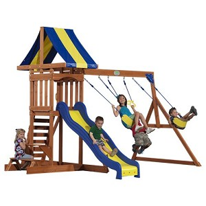 Providence Wood Play Set 40112com Playhouse and Slide with Swing Set