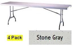 SO 2982 4 PACK Lifetime 8 ft Stone Gray Folding Table