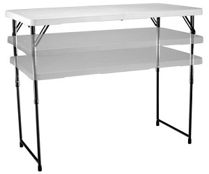 Lifetime Adjustable Folding Utility Table 4428 48x24 White Granite