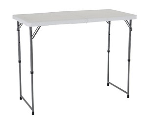 Lifetime Adjustable Leg Table 4428 White 4' Fold-in-Half Folding Table