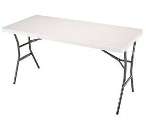 Lifetime 24534 White Granite 5' Portable Fold-in-Half Folding Table