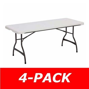 6 ft. Commercial Nesting Lifetime Plastic Table 4-Pack 480272 (White Granite)