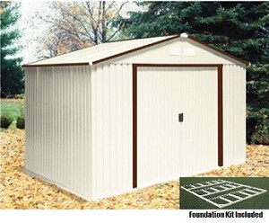 10x8 50234 Del Mar Metal Shed with Foundation Kit, Brown Trim