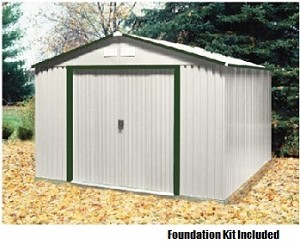 10x12 Del Mar Metal Shed with Foundation Kit in Green Trim