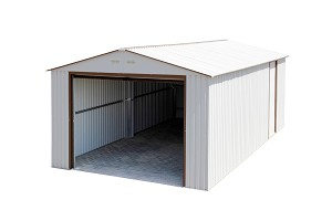 55131 Duramax Imperial Storage Buildings 12x26 Metal Garage White with Brown
