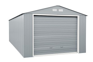 555152 Duramax Imperial Storage Buildings 12x26 Metal Garage Gray with Off White