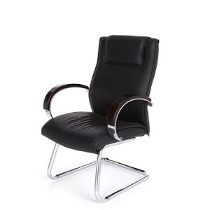 OFM Apex Series Executive Leather Guest Chair with Wood Accents
