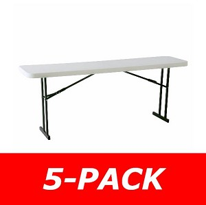Lifetime Folding Seminar Tables 580177 8-Foot White Granite 5 Pack