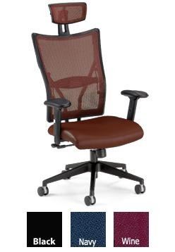 Ofm 590-L Executive Office Chair, Leather Foam Molded Seat Mesh Back