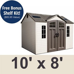 60178 Lifetime Garden Shed 10x8 Plastic Storage Building