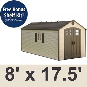 Lifetime Outdoor Storage Shed 60121 8x17.5 2 Windows