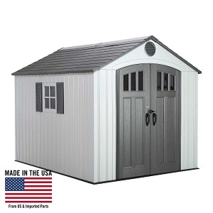 Lifetime 60202 8x10 Gray Outdoor Storage Shed with Wood Grain Floor