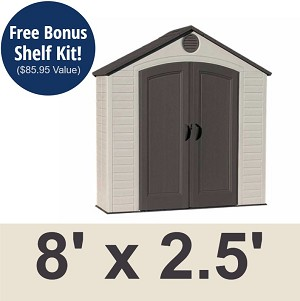 Lifetime Storage Shed - Sentinel 6413 8 x 2.5 ft. Outdoor Unit