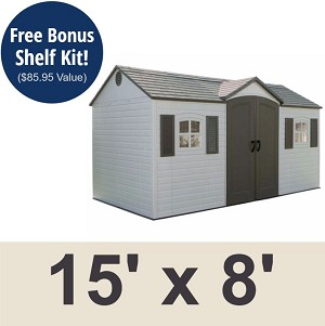 Lifetime Garden Shed 6446 15 x 8 ft. Side-Entry Storage Unit