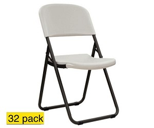 lifetime chairs 80072 almond loop leg folding chair 38 pack
