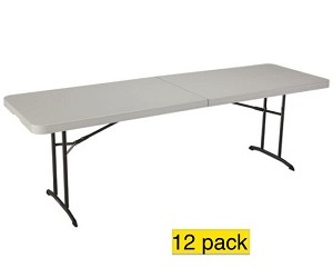 SO Lifetime Fold-in-Half Tables - 80075 8 ft. Almond Color 12 Pack