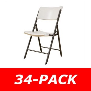 Lifetime Folding Chairs - 80097 Almond Contemporary Chair - 34 Pack