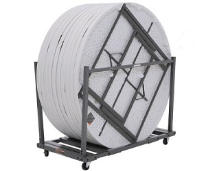 Lifetime Commercial 60 Round Table 12 Pack And Cart Bundle (White Granite)