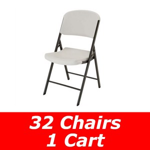 Lifetime Folding Chairs 32-pk with Cart (80133 and 80134)