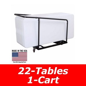 80139 Lifetime 6' Tables 22 Pack with Cart (White and Almond Color)