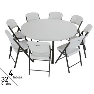 4 Pack Lifetime 60 In Round Tables + 32 Pack Chairs Package in White